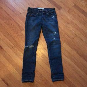 Denim - Dark denim slightly ripped jeans